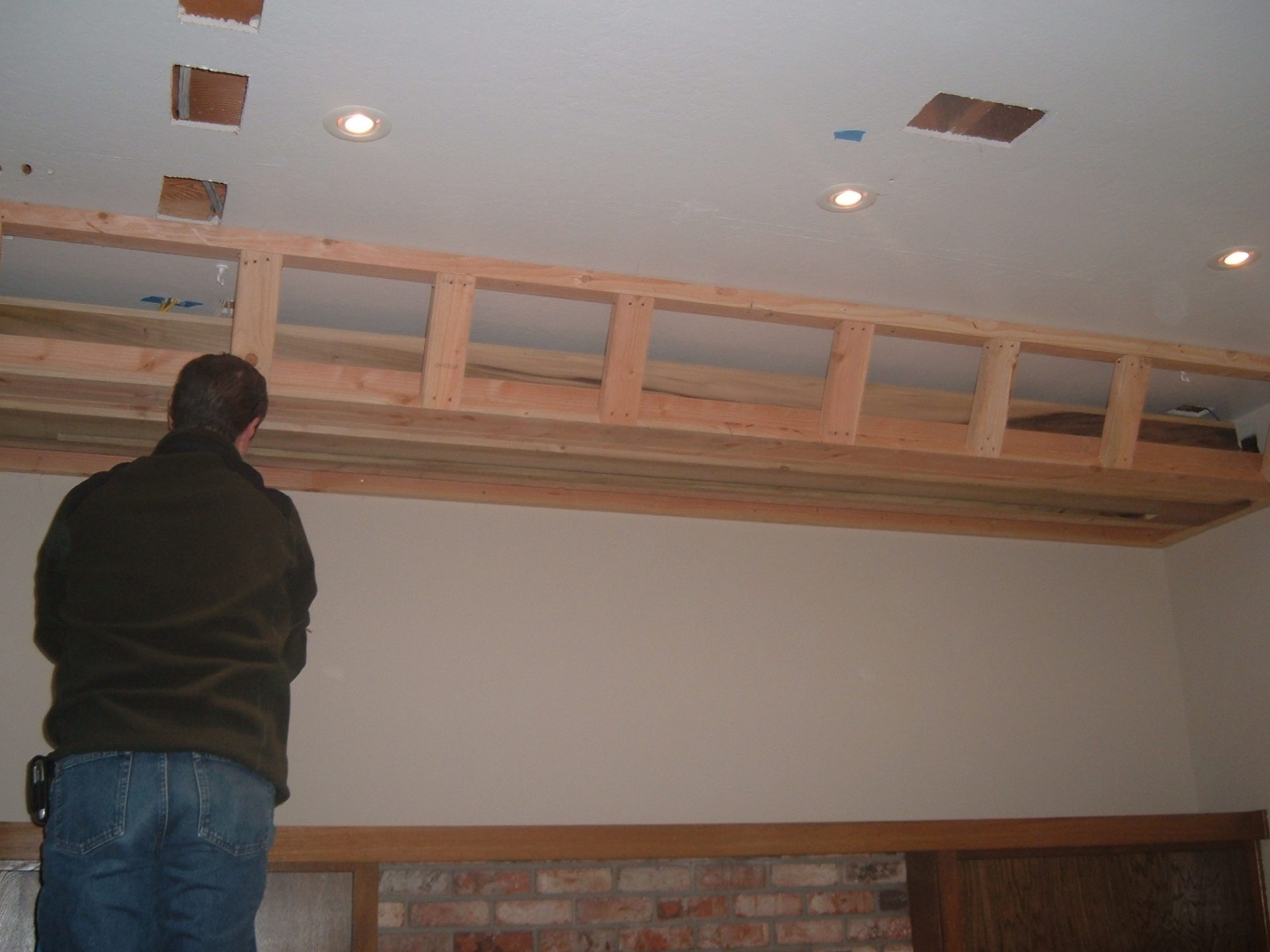 Custom Soffit, for drop-down movie screen, with speakers (San Jose)